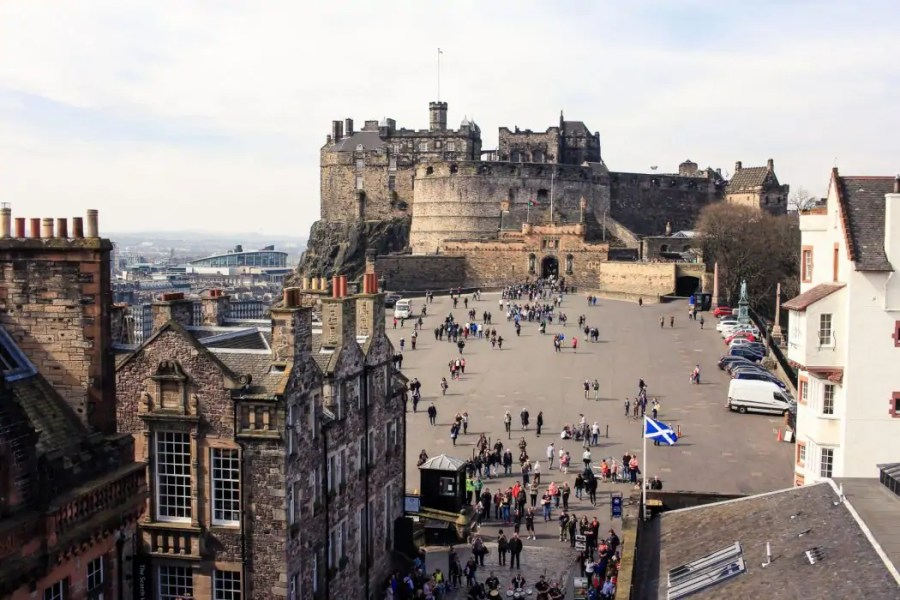 View of Edinburgh Caslte from the top of Camera Obscura.