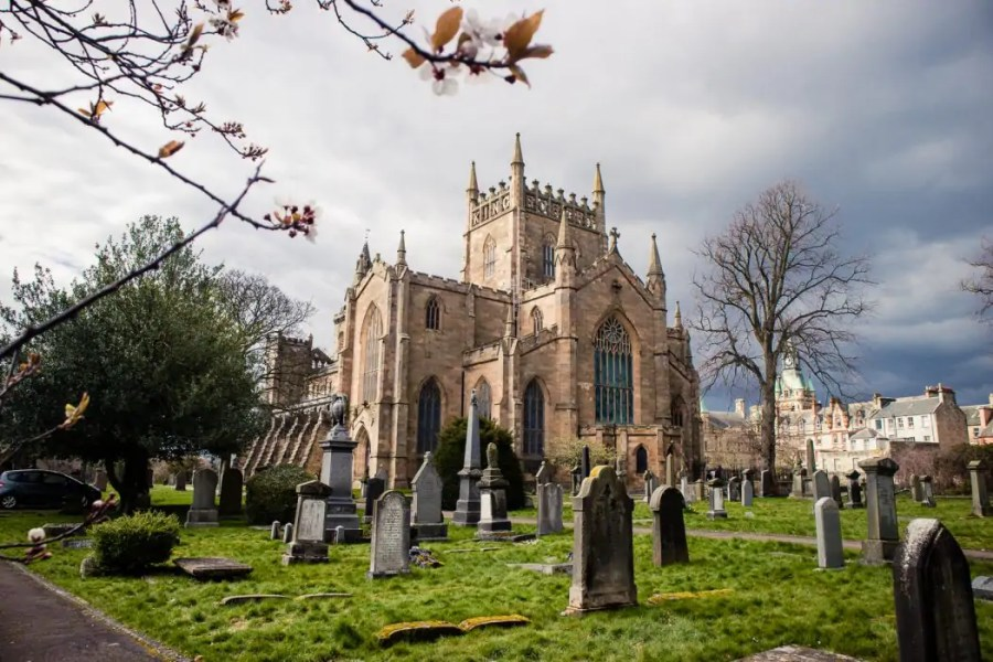 Dunfermline Abbey and the surrounding cemetery.