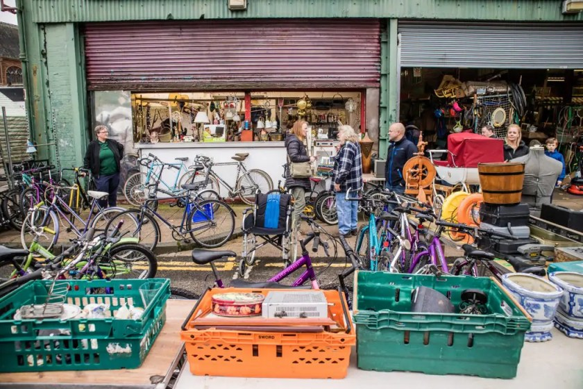 Second hand shopping at the Barras market in Glasgow.