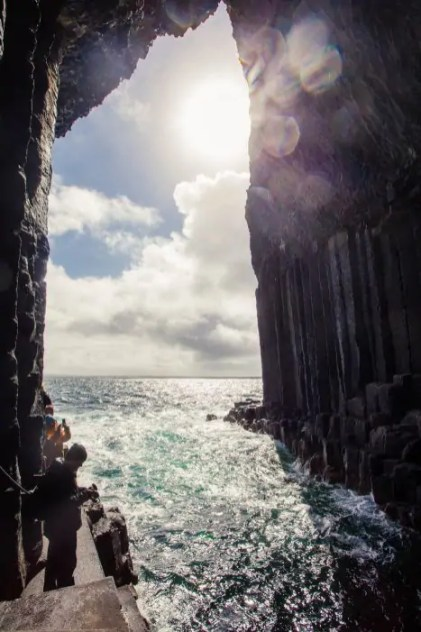 Looking out of Fingal's Cave on the Isle of Staffa.