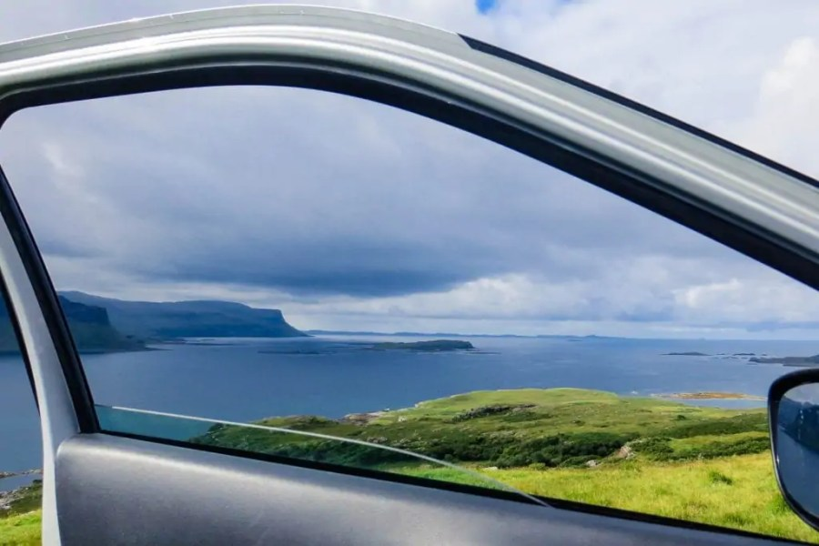 The view through the car window on a road trip around the Isle of Mull.