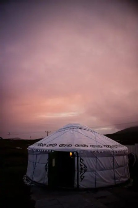 My yurt at Barra Holidays on the Hebridean Way.
