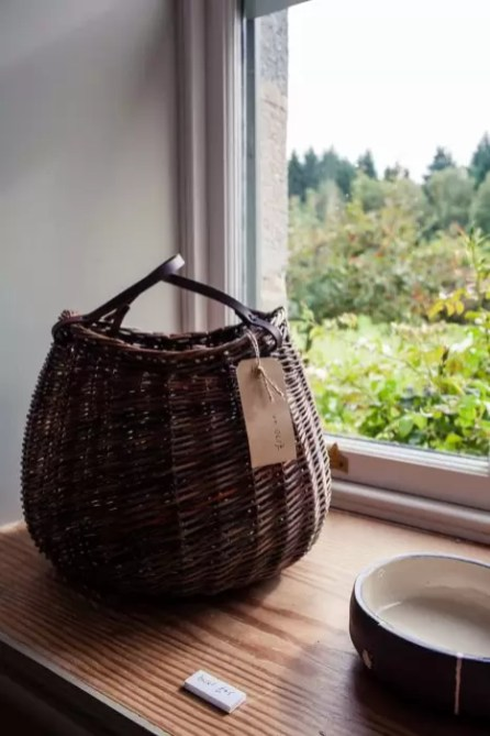 A willow basket by Helen Jackson.