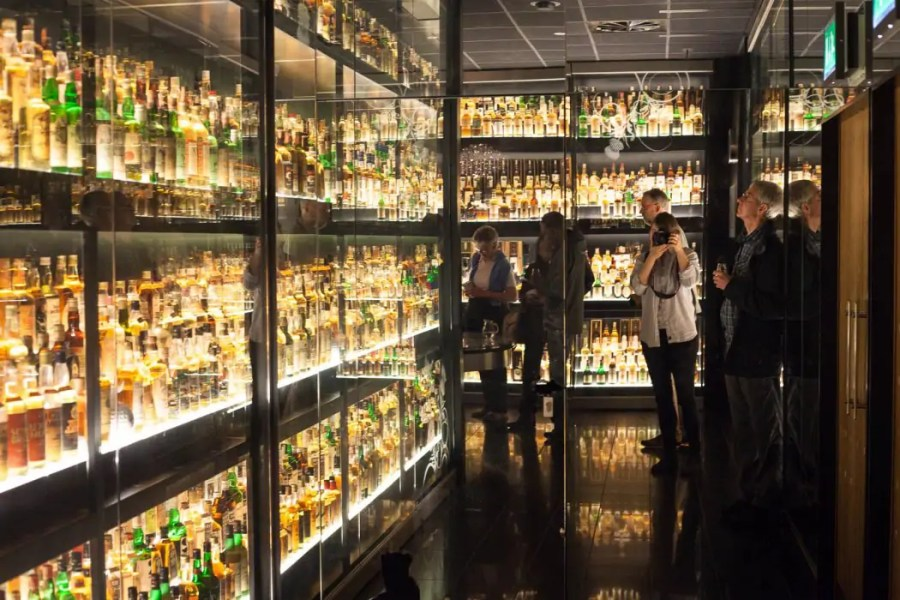 The treasure rooms at the Scotch Whisky Experience in Edinburgh is filled with thousands of bottles of whisky.