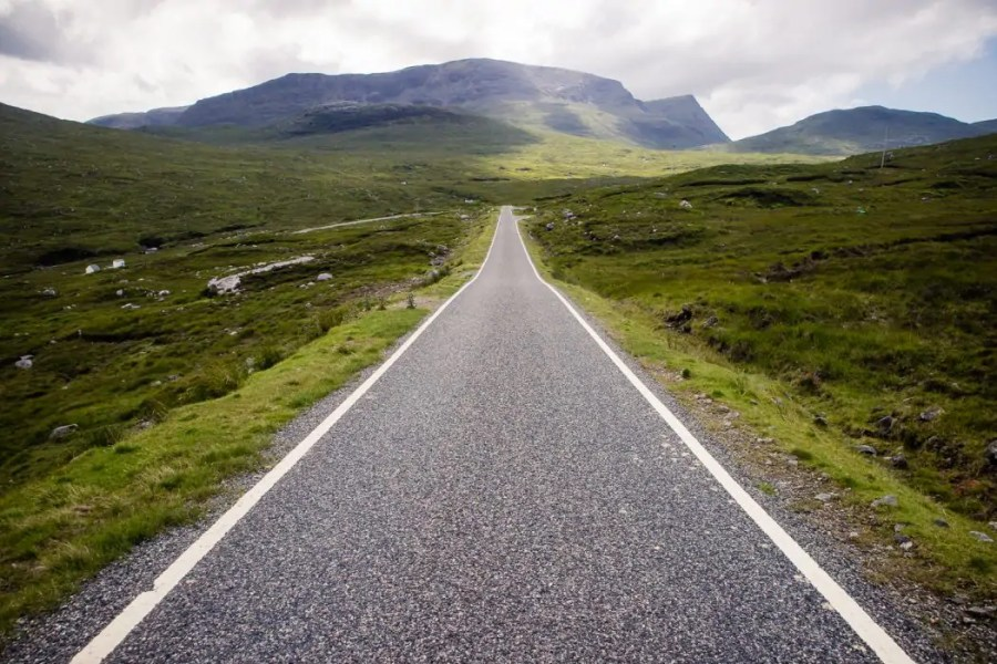 A scenic section of road walking on Harris.