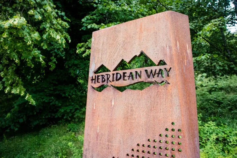 The end point of the Hebridean Way walking route in Stornoway.