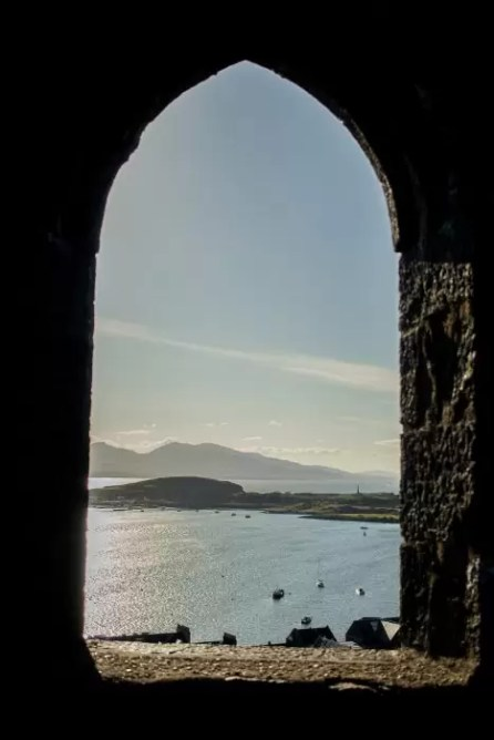 View through a window at McCaig's Tower in Oban