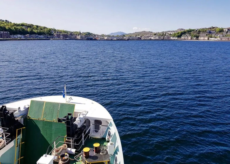 The ferry approaching Rothesay on the Isle of Bute.