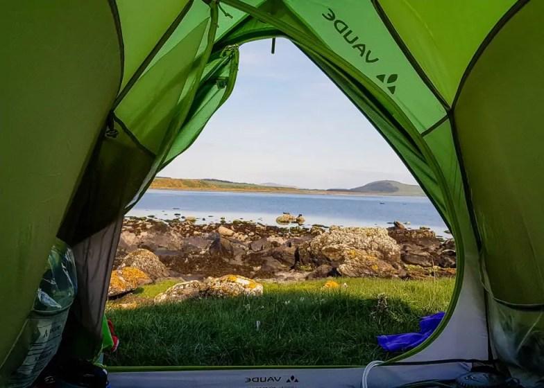Morning views while wild camping at Scalpsie Bay.