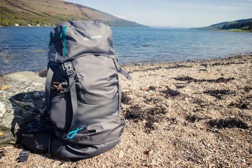 a084e6c6331b The Vaude Skarvan 65+10 trekking backpack on a beach in Scotland. - The