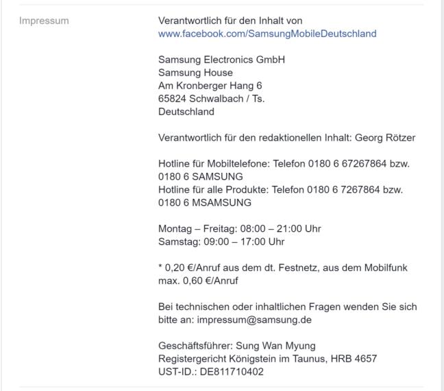 Examples of Facebook Impressum