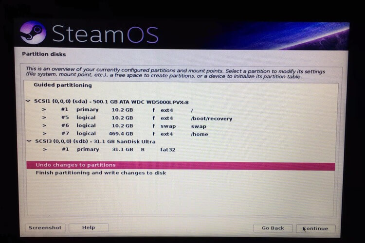 Undo Changes SteamOS