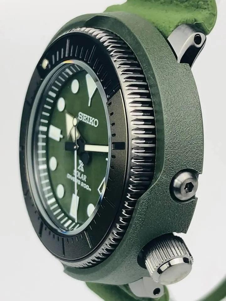 Seiko Street Series Prospex Tuna 1975 Re-Creation Olive Green Mens Watch SNE535P1 RRP £370 - WatchNation