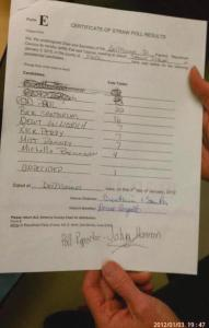 SAMPLE PIC OF CAUCUS TALLY SHEET from 01/02/2012 Des Moines Precinct 31 Polk Co Iowa