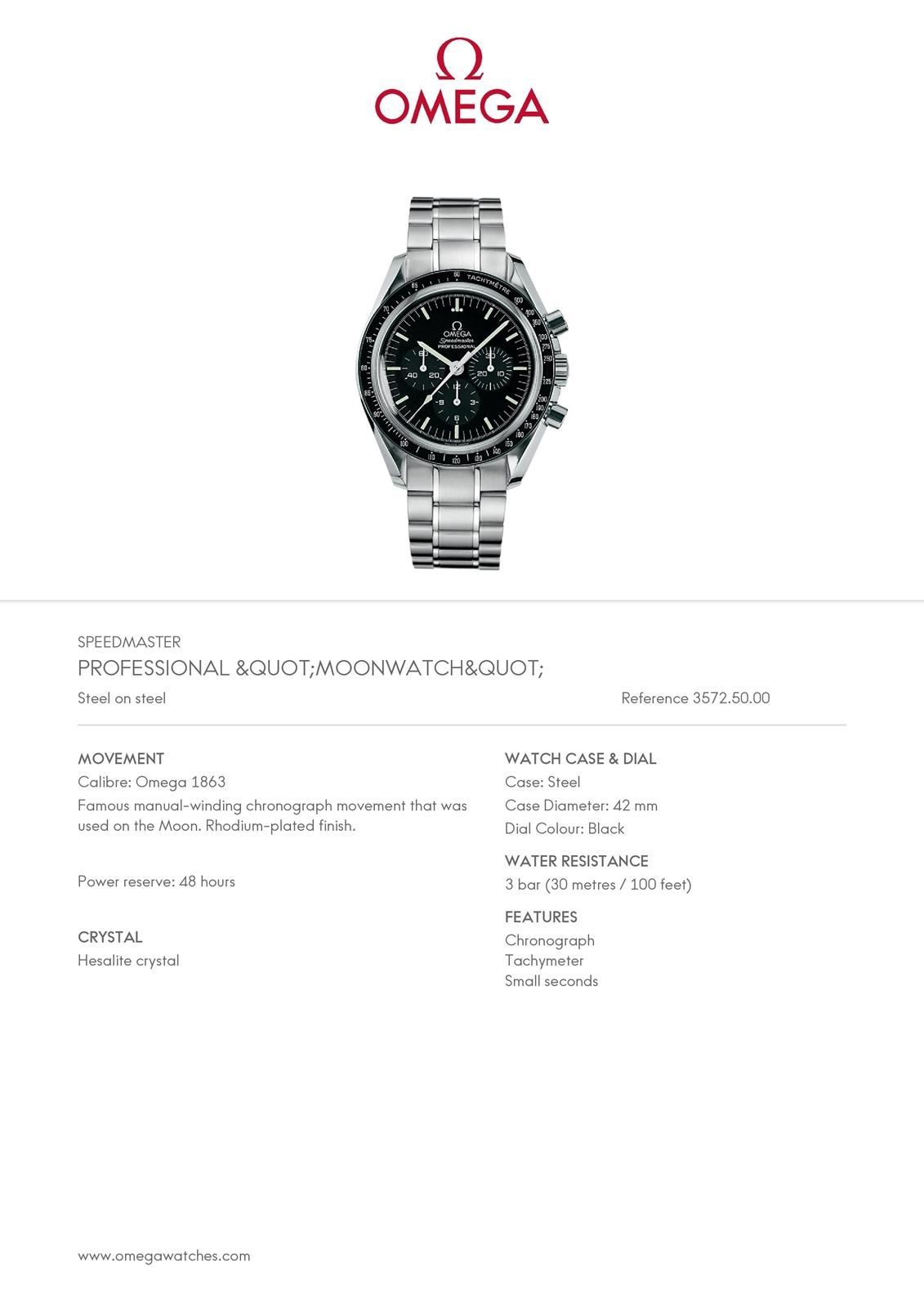 Omega Speedmaster Professional Moonwatch Display Back 3572