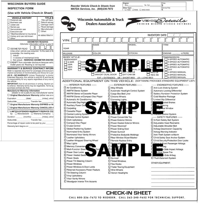 Vehicle Details Inspection Sheet, 25/pad