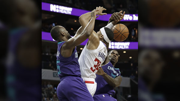 Los Angeles Clippers' Tobias Harris (34) is fouled