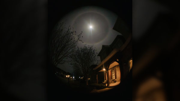 Lunar halo early Tuesday photographed in Knoxville