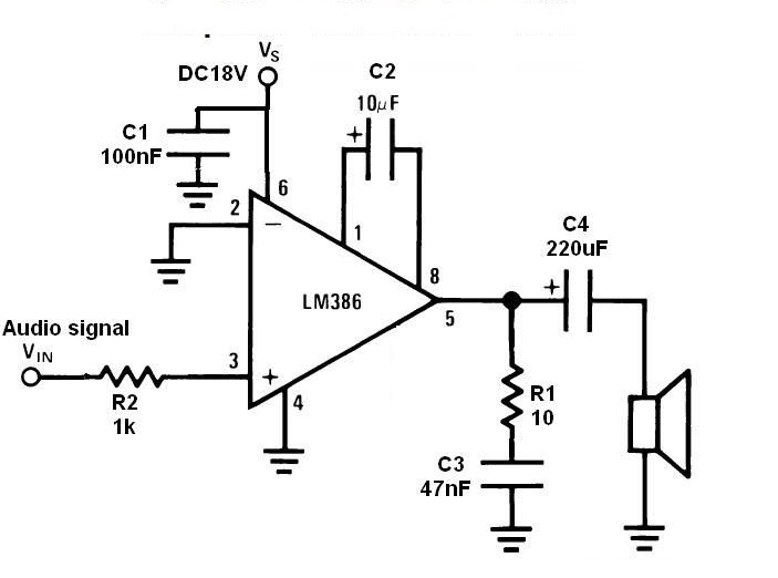 Audio Amplifier Circuit, Working and details of Nx, Lm386