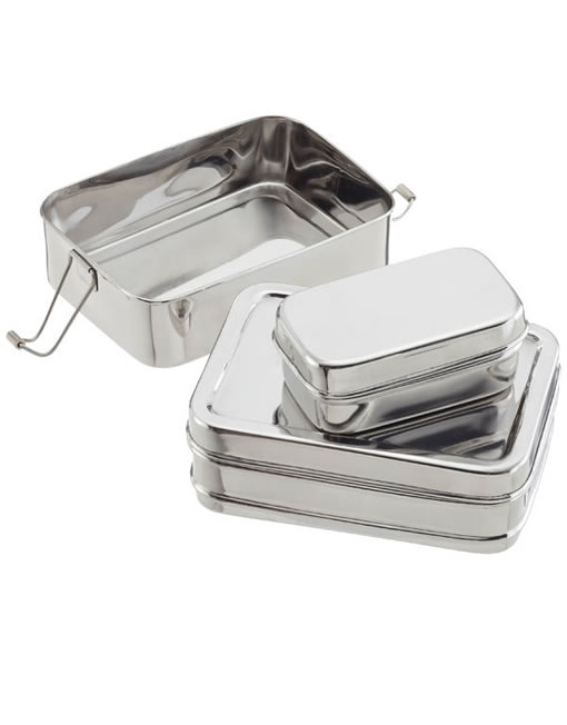 Rectangle 3-Piece Stainless Steel Lunchbox