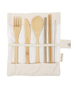 Honeywrap Bamboo Cutlery Kit Cream