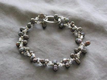 Pulsera de perlas pepita antracita 1