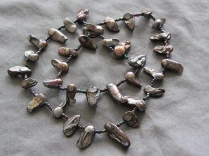 Pulsera de perlas barrocas plateado 1