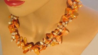Barokparel oranje met nugget beige 1