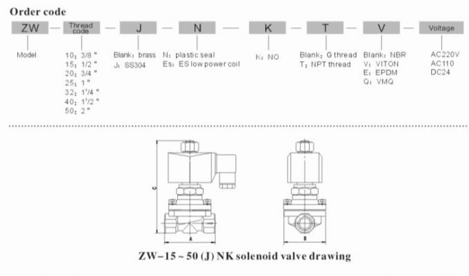 2 Inch Semi Direct Acting Brass Water Solenoid Valve