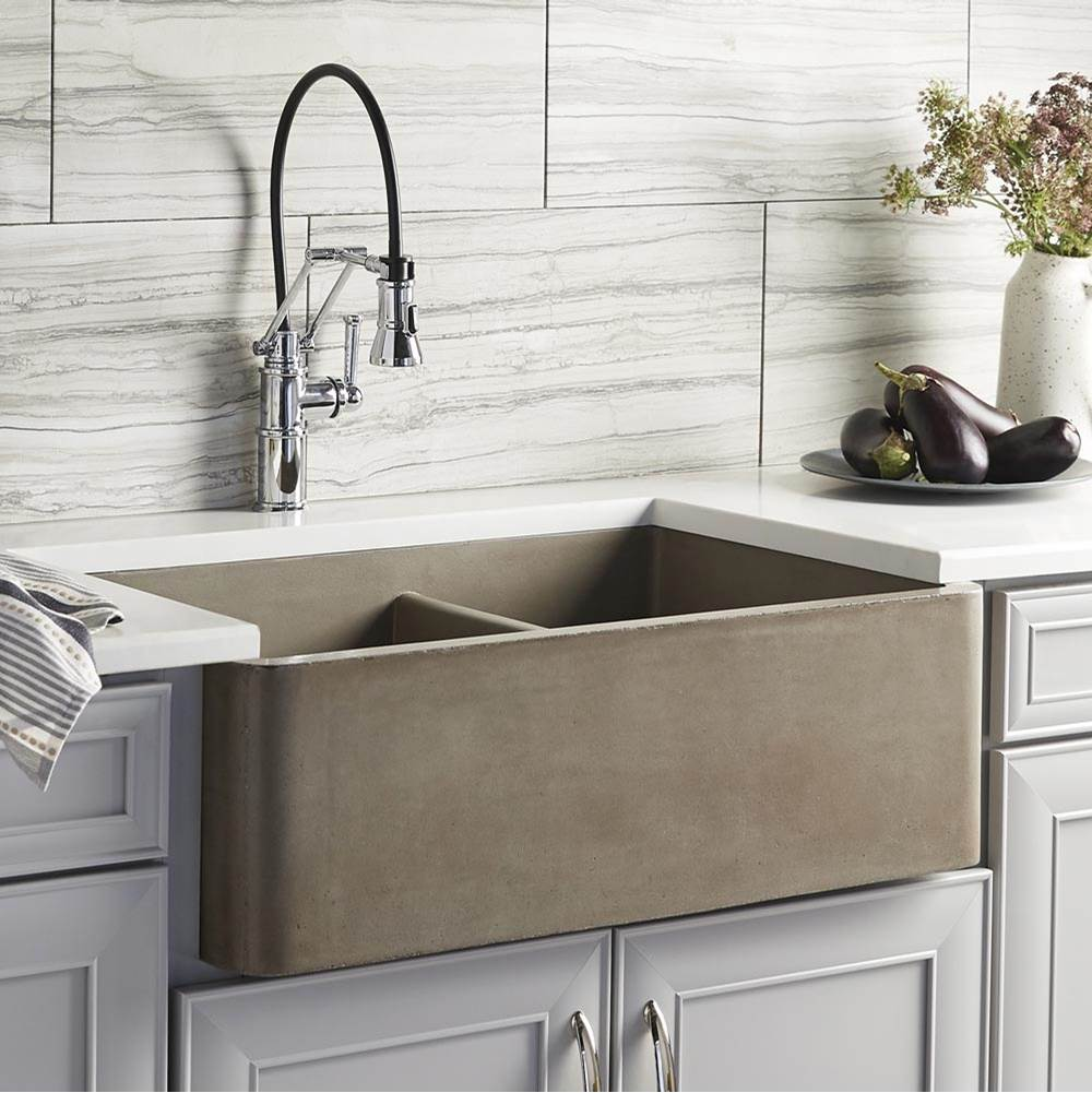 farmhouse double bowl kitchen sink in earth