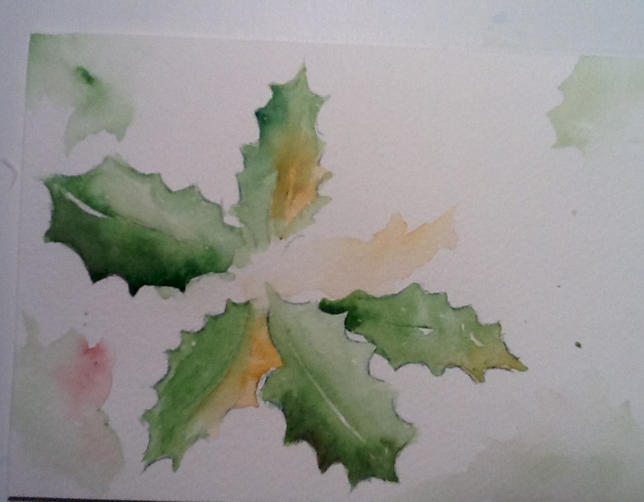 Christmas Holly Card Watercolors By Marian