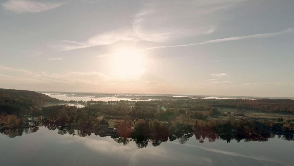 A aerial image of Westport, Ontario.