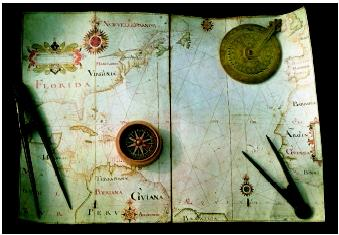 Maps, compasses, astrolabes, and calipers are among the early tools used by ocean navigators. In the modern era, these tools have been largely replaced by electronic and technological equivalents.