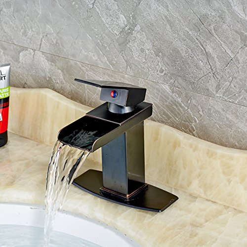 Senlesen Oil Rubbed Bronze Waterfall Spout Bathroom Sink Vessel Vanity  Faucets Lavatory Mixer Tap Single Handle