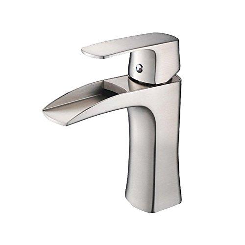 wovier brushed nickel waterfall bathroom sink handle single hole vessel lavatory faucet