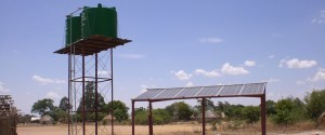 Warter tanks and solar panels