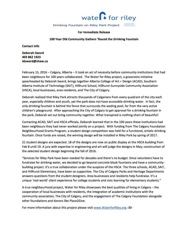 Press Release 1 WaterforRiley