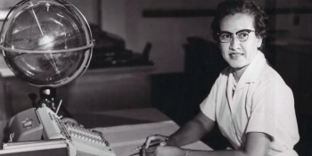 The real Katherine Johnson at her desk at NASA.