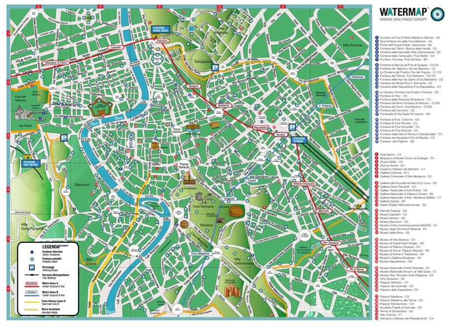 Cartina Citta Roma.Dissetarsi A Roma La Mappa Delle 220 Fontanelle Pubbliche Water On Line