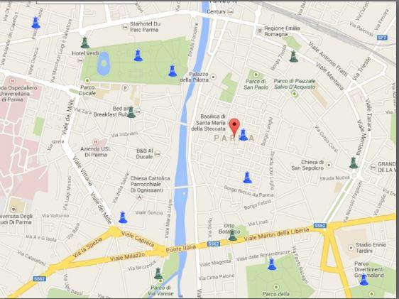 mappa fontane di Parma