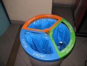 In Italy, most waste baskets are separarted into three, sometimes four compartments to facilitate recycling.