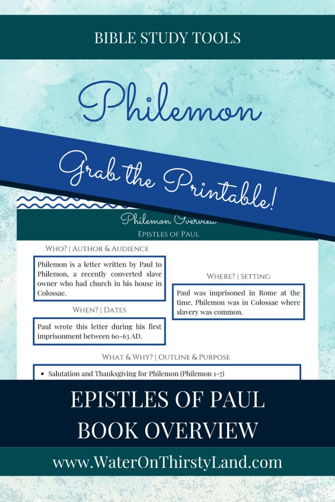 Philemon Book Overview Printable