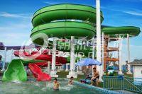 Green Big Commercial Pool Water Slides For Theme Park ...