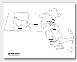 Printable Massachusetts Maps State Outline County Cities