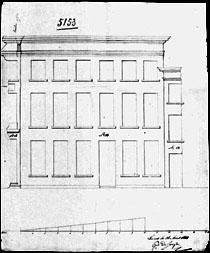"""Voorgevel 1884 (""""construction d'un 2ième étage""""). SAG G12 nr 5153 (1844). Beeld: Stadsarchief Gent"""