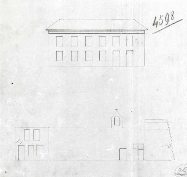 Voor (onder) en na (boven) 1824. Verbouwing van een huis en magazijn door L. De Smet.