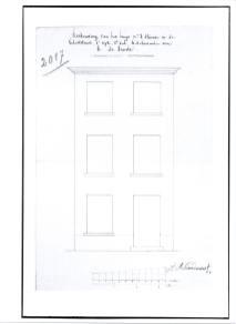 1832 - voorgevel tweede kwart negentiende eeuw - 'reconstruction maison' - bouwaanvraag SAG G12 2017 (1832). Beeld: Stadsarchief Gent, opname: 1995