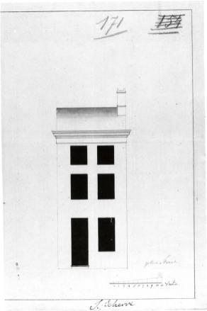1801 - voorgevel - eerste kwart negentiende eeuw - 'Changement à la façade' - bouwaanvraag SAG G12 nr 171 (1801). Beeld: Stadsarchief Gent, opname: 1995