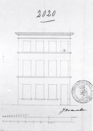 1837 - voorgevel - tweede kwart negentiende eeuw - 'exhaussement de sa maison de 2 étages - bouwaanvraag SAG nr. G12 2020 (1837). Beeld: Stadsarchief Gent, opname: 1995