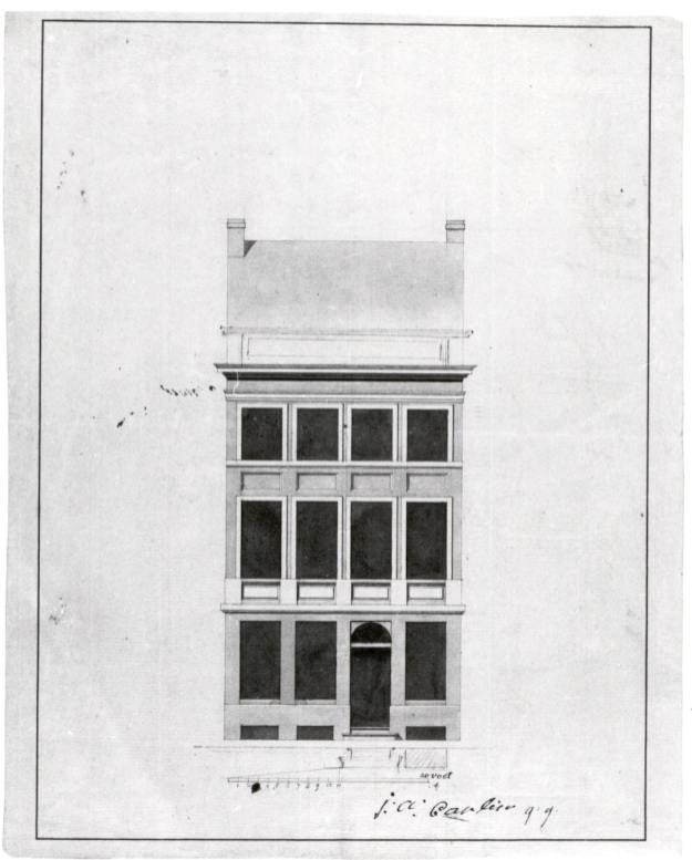 1802 - voorgevel - 'reconstruction façade' - eerste kwart negentiende eeuw - bouwaanvraag SAG G12 nr. 172 (1802). Beeld: Stadsarchief Gent, opname: 1995